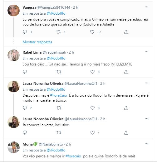 Fãs de Rodolffo Matthaus pedem para Adm's dos perfis nas redes sociais mudarem foco de #ForaGil para #ForaCaio no decimo paredão do BBB21