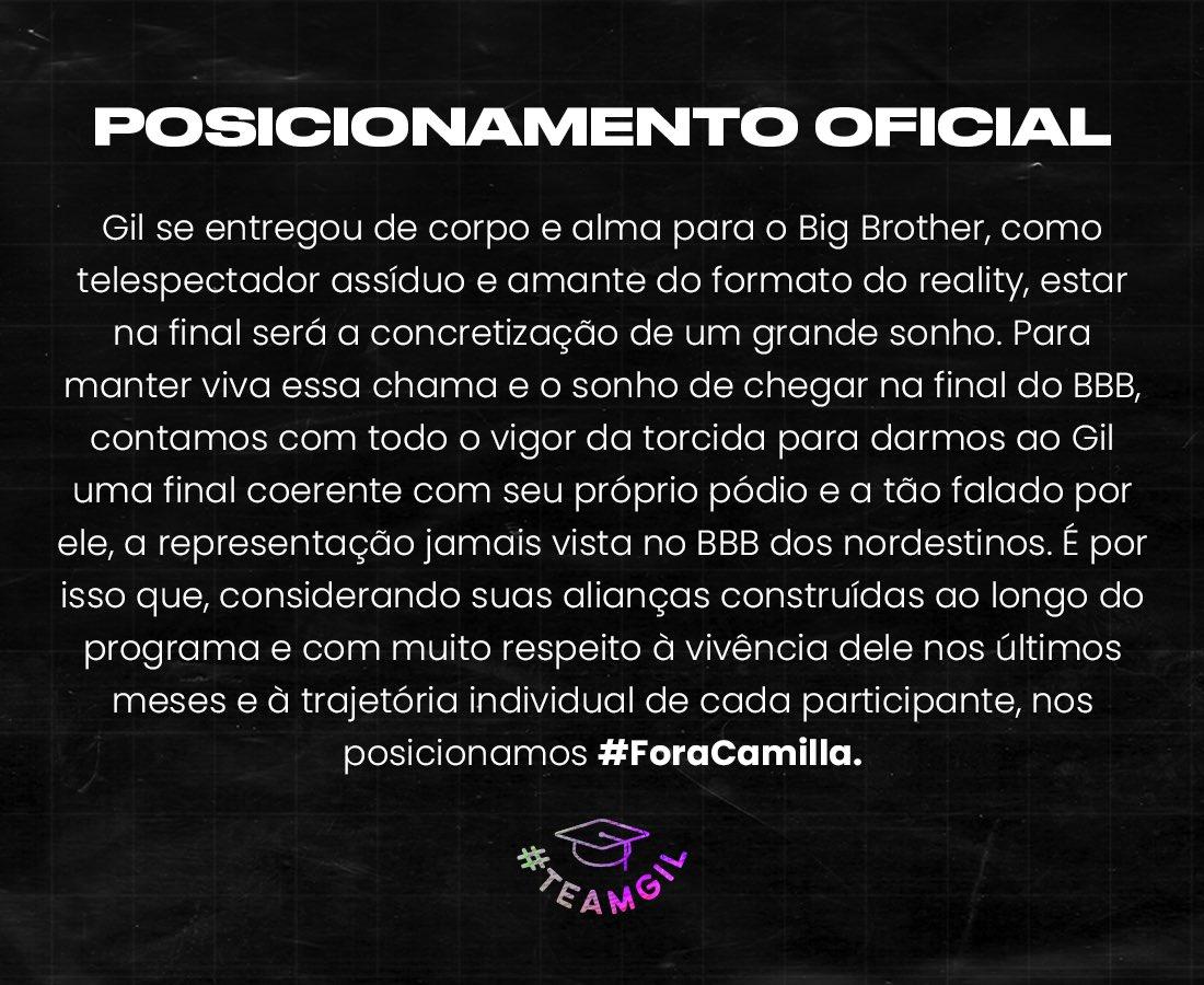#ForaCamila pede TeamGil no BB21